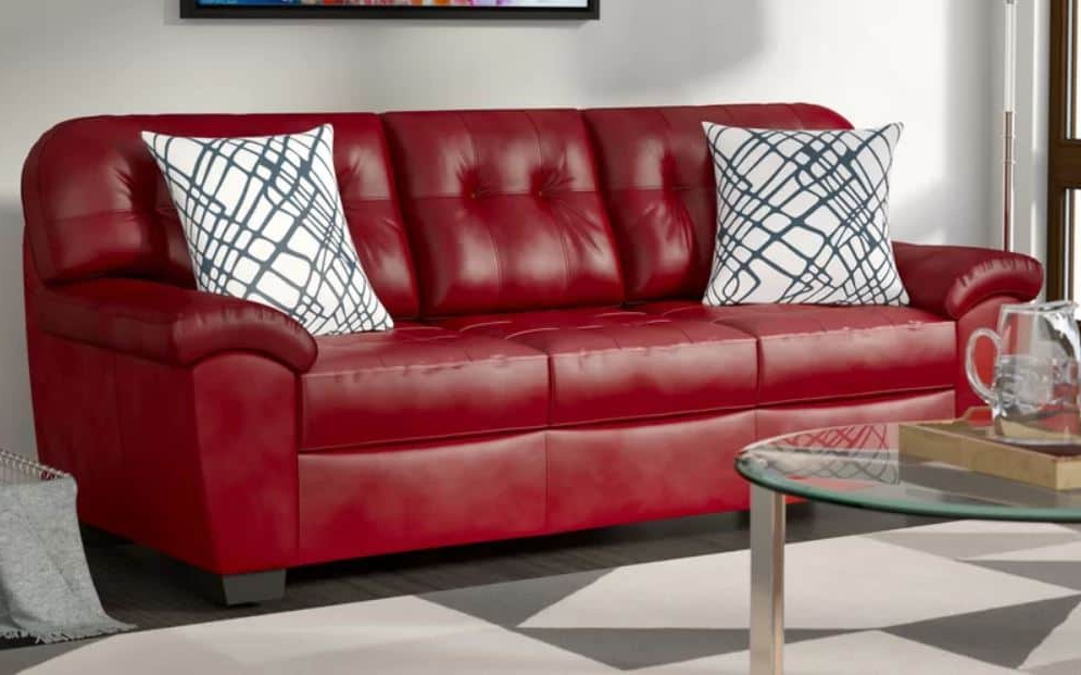 8 Red Faux Leather Sofa Options That Make A Statement – 2020 Within Current Red Sofas (View 19 of 20)