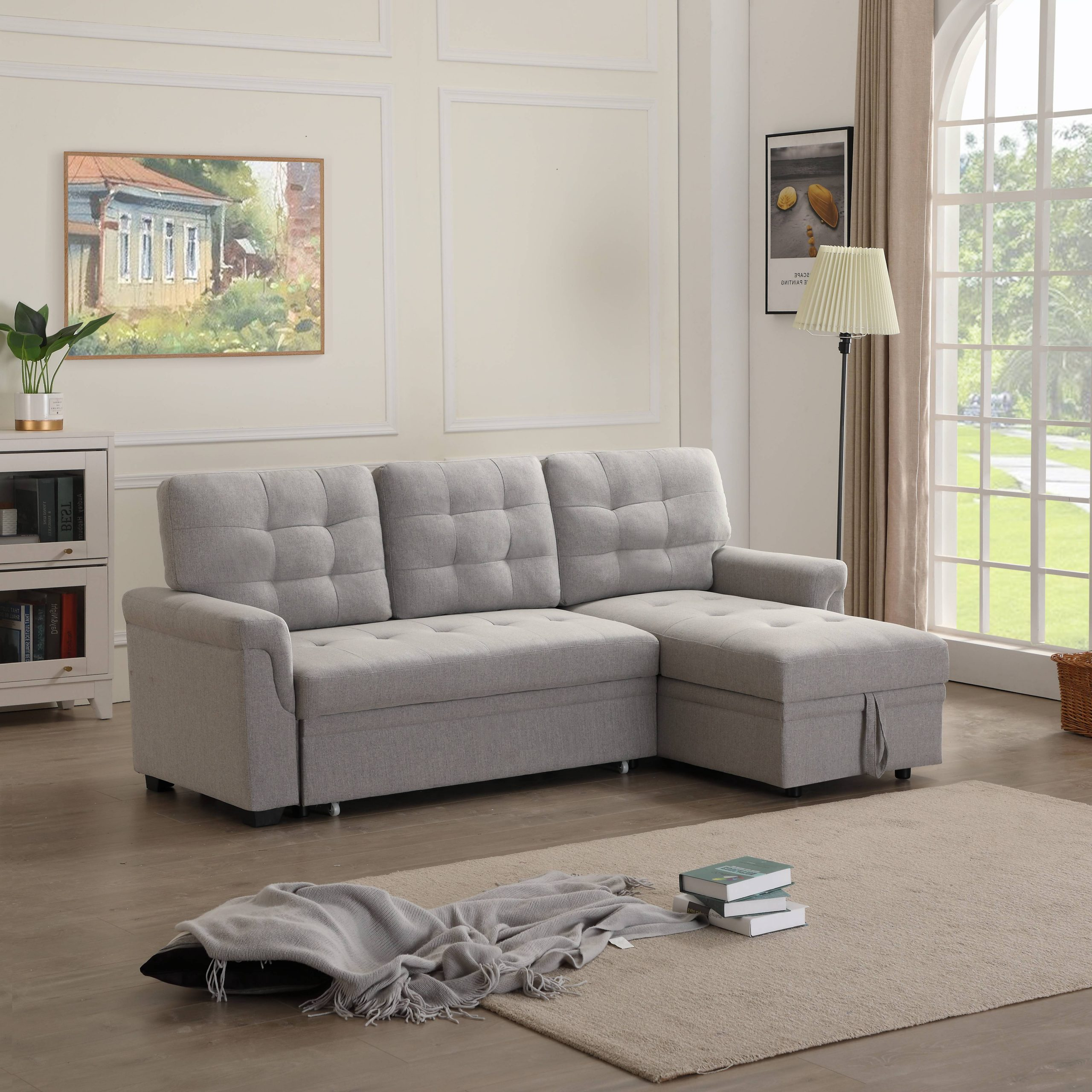 """86""""w Modern Sectional Sofa Bed With Reversible Chaise, L With Regard To Most Current Easton Small Space Sectional Futon Sofas (View 11 of 20)"""