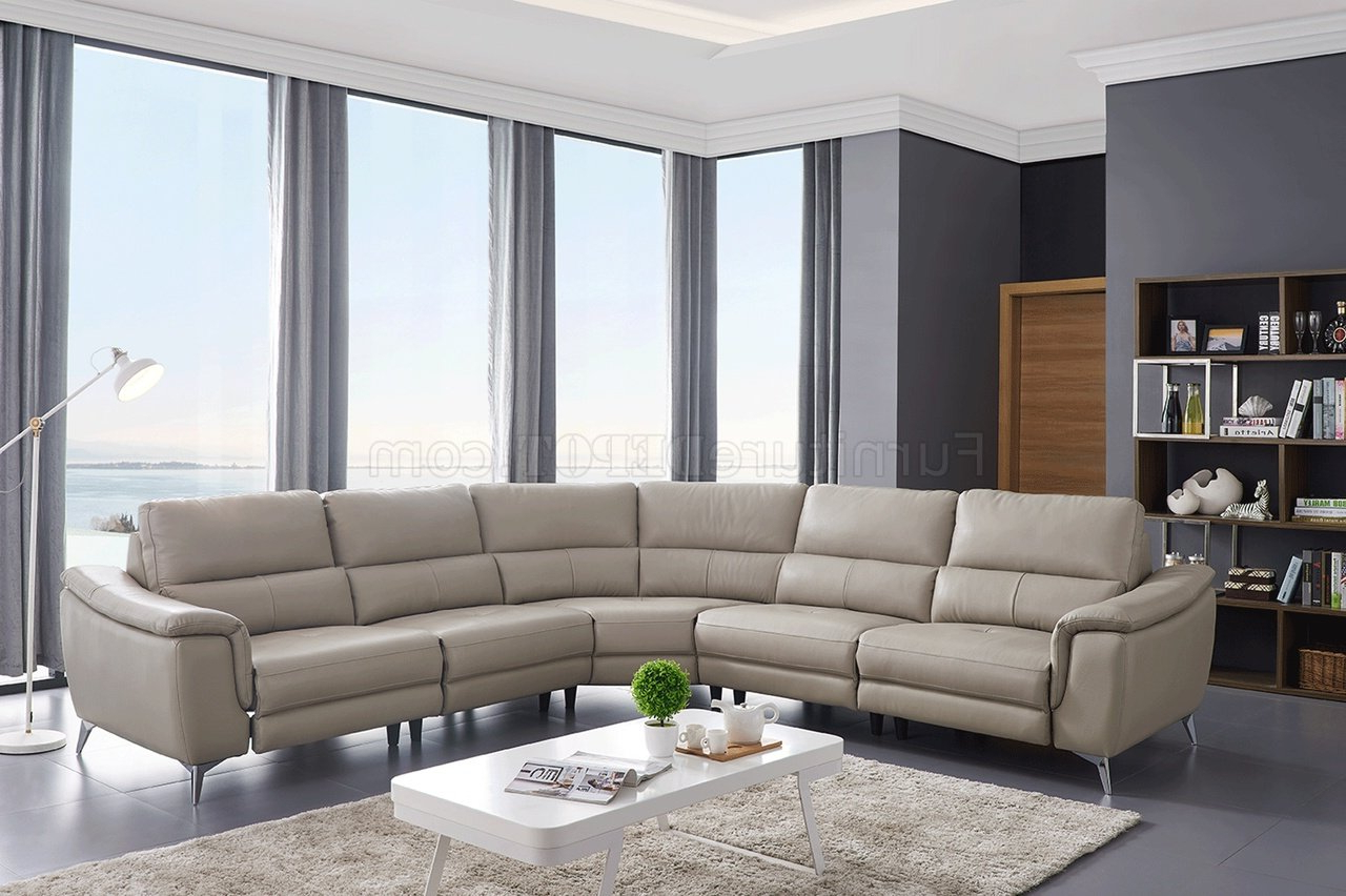 951 Power Motion Sectional Sofa Light Grey Leatheresf Inside Trendy Noa Sectional Sofas With Ottoman Gray (View 11 of 20)
