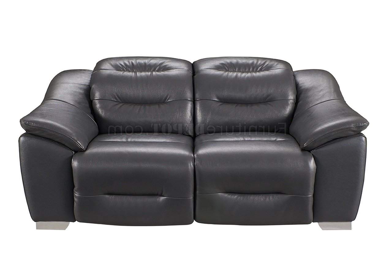 972 Power Reclining Sofa In Dark Grey Leatheresf W/options Within Most Popular Pacifica Gray Power Reclining Sofas (View 11 of 20)