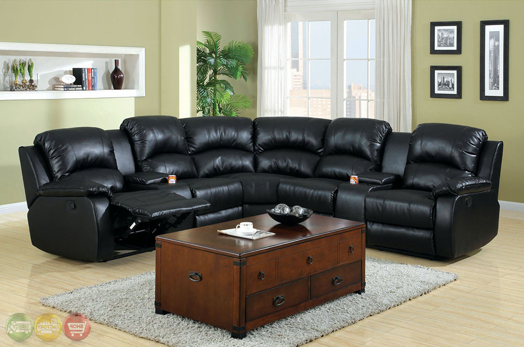 Aberdeen Black Bonded Leather Sectional Sofa Set W/cup Holders Throughout Latest Wynne Contemporary Sectional Sofas Black (View 13 of 20)