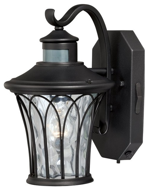Abigail Black Motion Sensor Dusk To Dawn Outdoor Wall With Best And Newest Manteno Black Outdoor Wall Lanterns With Dusk To Dawn (View 3 of 20)