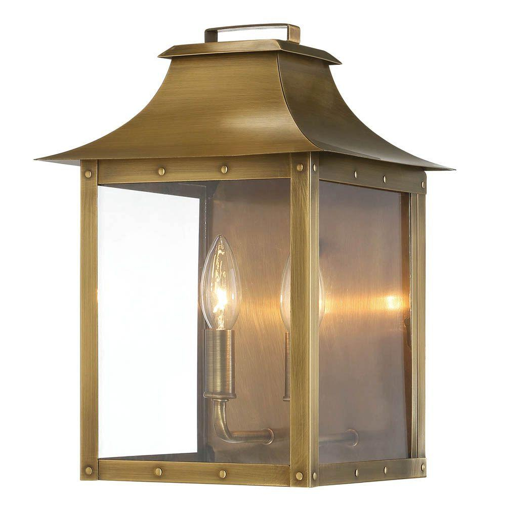 Acclaim Lighting Manchester Collection 2 Light Aged Brass In Current Caroline Outdoor Wall Lanterns (View 1 of 20)