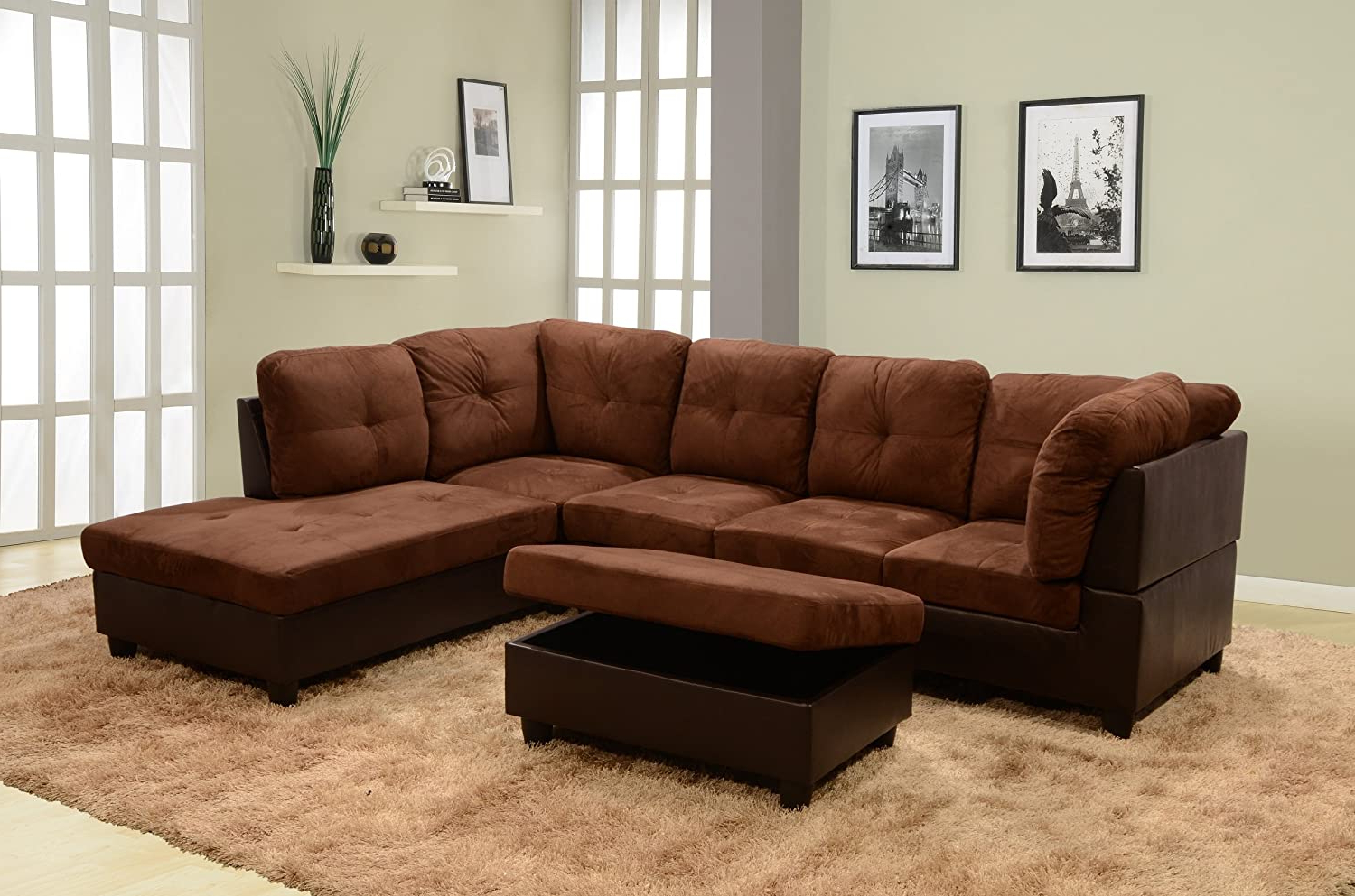Ainehome 3 Pcs Living Room Set, Sectional Sofa Set In Most Current Monet Right Facing Sectional Sofas (View 2 of 20)