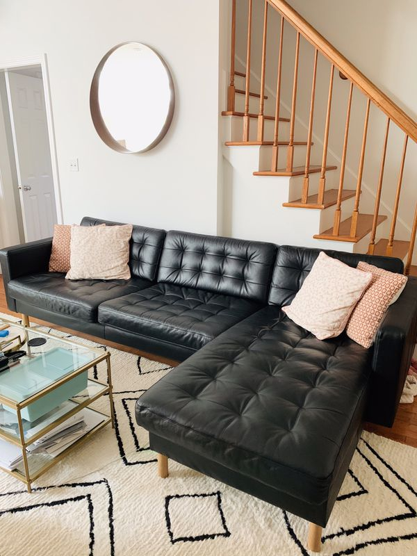 Alani Mid Century Modern Sectional Sofas With Chaise For Well Known Ikea Landskrona Black Genuine Leather Sectional Sofa With (View 12 of 20)