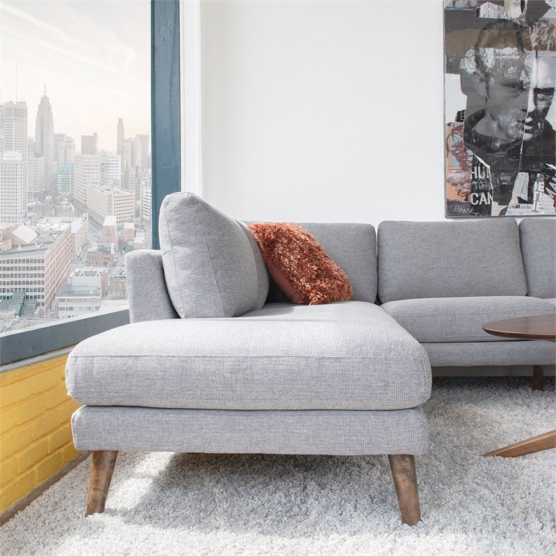 Alani Mid Century Modern Sectional Sofas With Chaise Pertaining To Recent Mid Century Modern Paisley Light Gray Sectional Sofa (View 5 of 20)