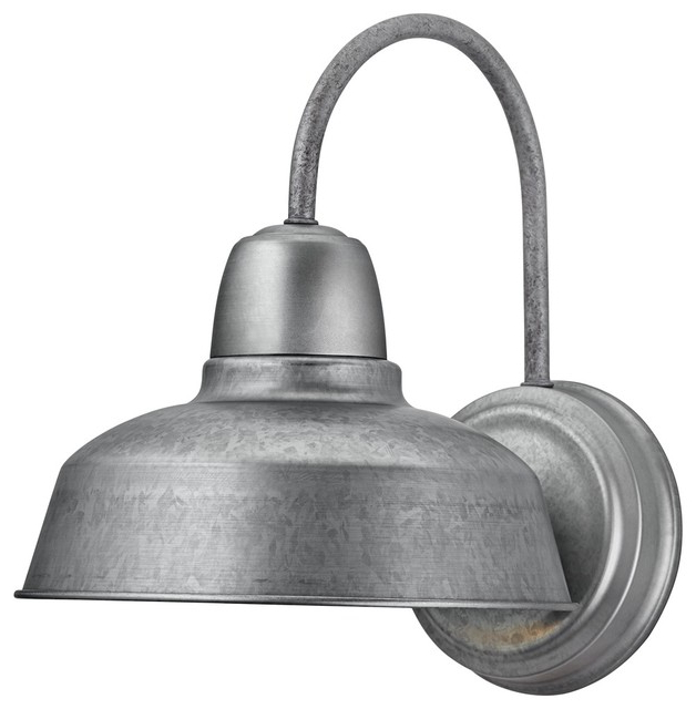 """Aleena Outdoor Barn Lights Throughout Current Urban Barn 13"""" High Galvanized Outdoor Wall Light (View 11 of 20)"""