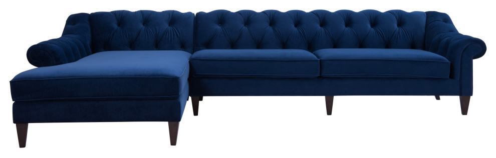 Alexandra Chesterfield Tufted Right Facing Sectional Sofa In Most Up To Date Element Right Side Chaise Sectional Sofas In Dark Gray Linen And Walnut Legs (View 15 of 20)