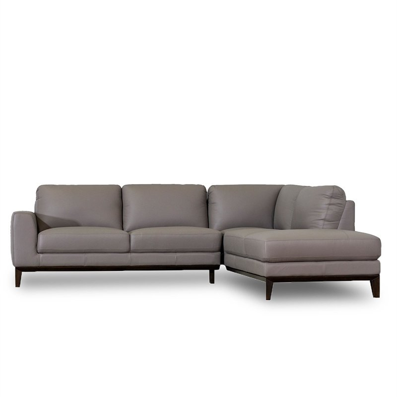 Allora Mid Century Modern Leather Left Chaise Sectional In 2019 Dulce Mid Century Chaise Sofas Light Gray (View 7 of 20)
