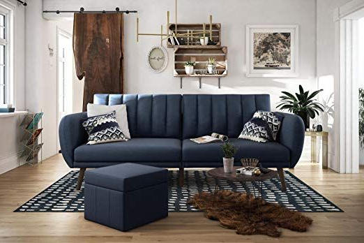 Amazon: Novogratz Brittany Sofa Futon – Navy Linen For Trendy Brittany Sectional Futon Sofas (View 8 of 20)