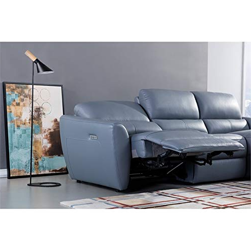 American Eagle Furniture Italian Leather Sectional In Blue Inside Latest Harmon Roll Arm Sectional Sofas (View 10 of 20)