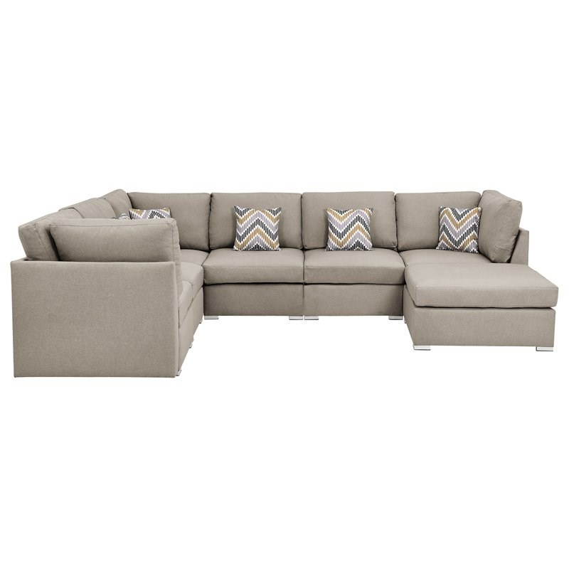 Amira Beige Fabric Reversible Modular Sectional Sofa With Throughout Latest Clifton Reversible Sectional Sofas With Pillows (View 14 of 20)