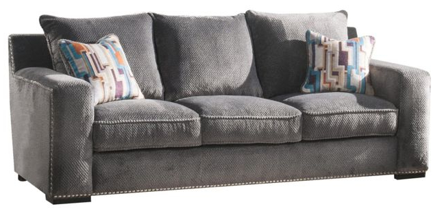 Anderson Contemporary Grey Chenille Sofa With Nailhead Intended For Popular Radcliff Nailhead Trim Sectional Sofas Gray (View 10 of 20)