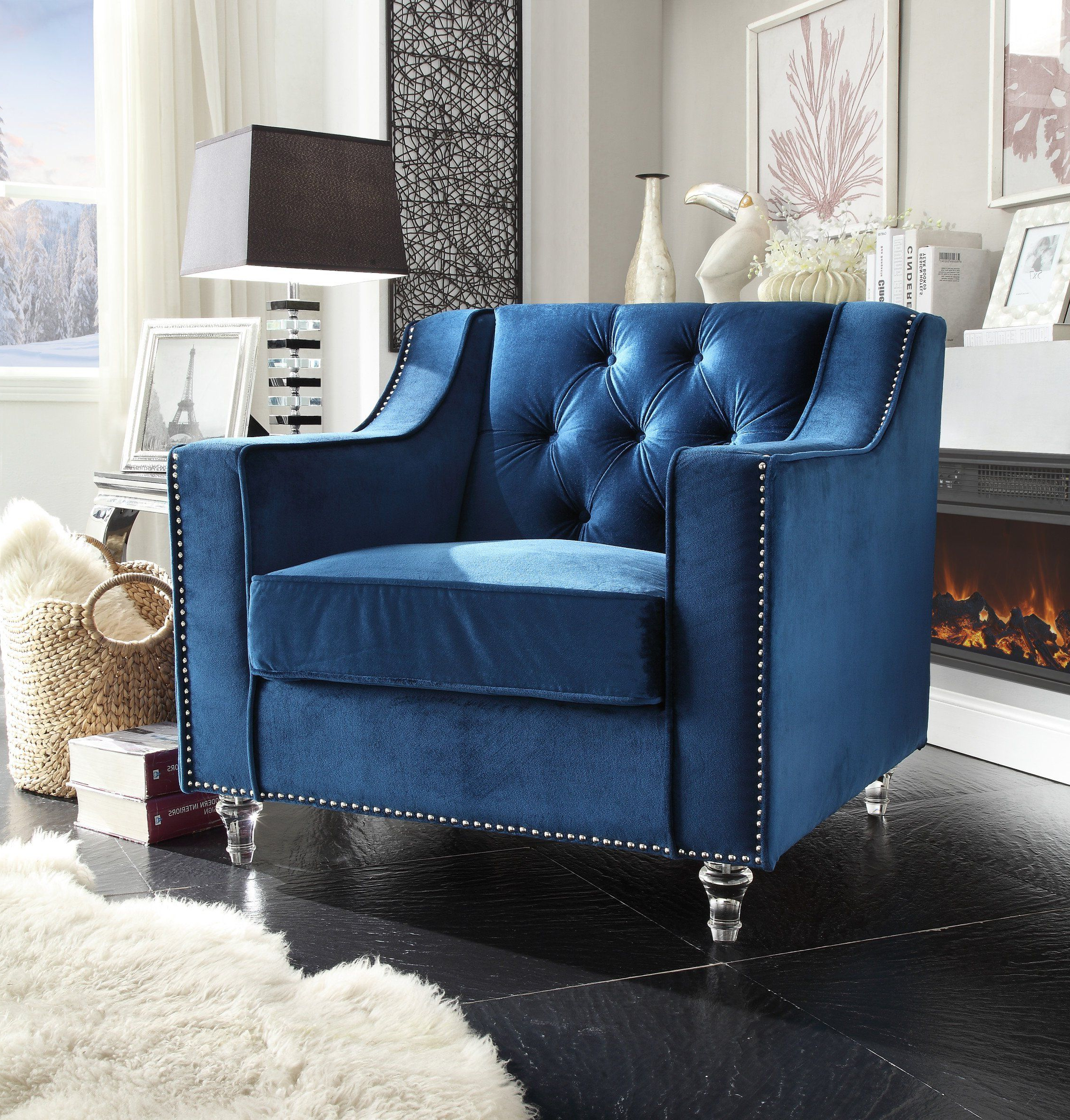 Annette Navy Sofas In Most Popular Iconic Home Dylan Velvet Button Tufted Nailhead Trim (View 15 of 20)