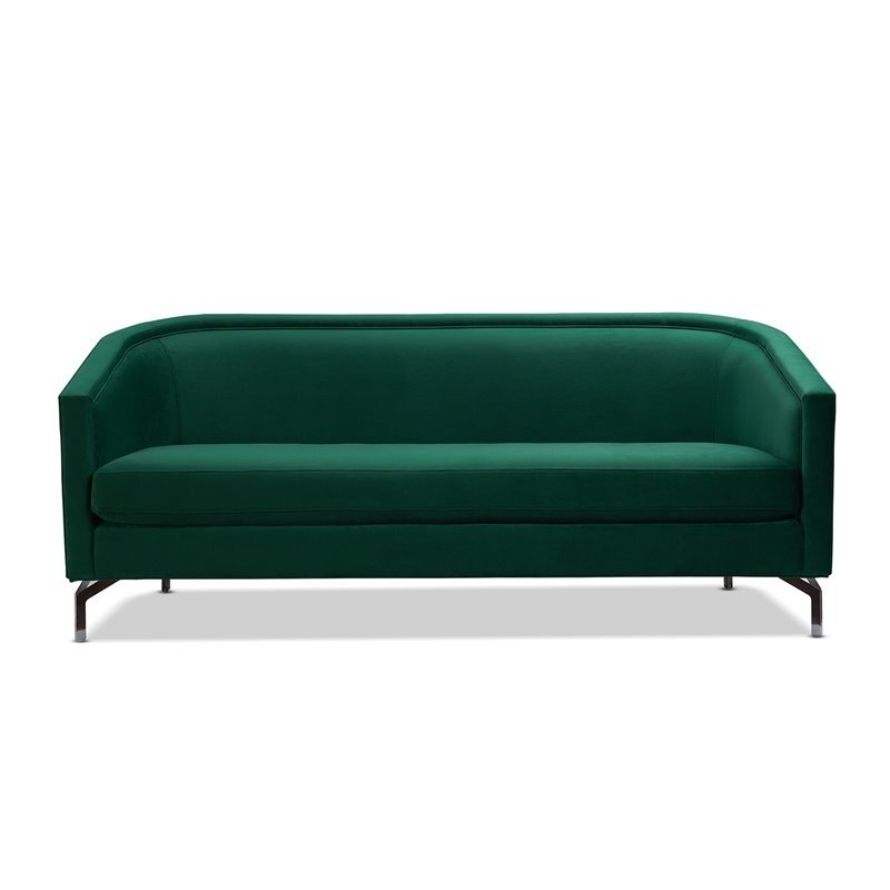 Annette Navy Sofas With Regard To Most Popular Sandy Wilson Home Annette Modern Sofa With Polished Metal (View 3 of 20)