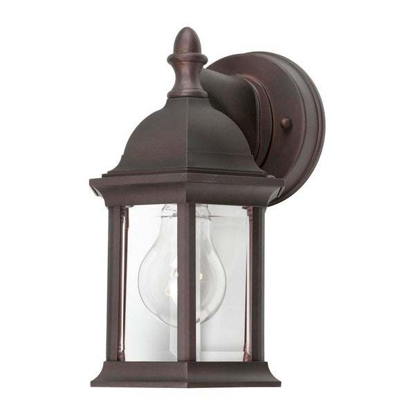 Antique Bronze Outdoor Wall Lantern With Clear Beveled Throughout Recent Chicopee Beveled Glass Outdoor Wall Lanterns (View 12 of 20)