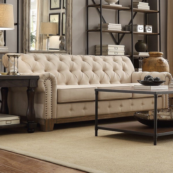 Artisan Beige Sofas Within Most Recently Released Shop Greenwich Tufted Scroll Arm Nailhead Beige (View 11 of 20)