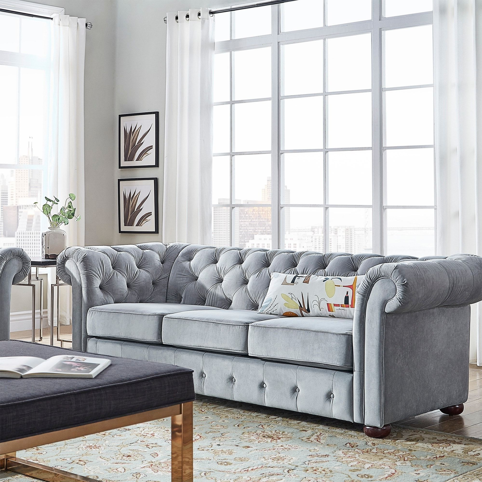 Artisan Blue Sofas Intended For Newest Knightsbridge Tufted Scroll Arm Chesterfield Sofa (View 16 of 20)