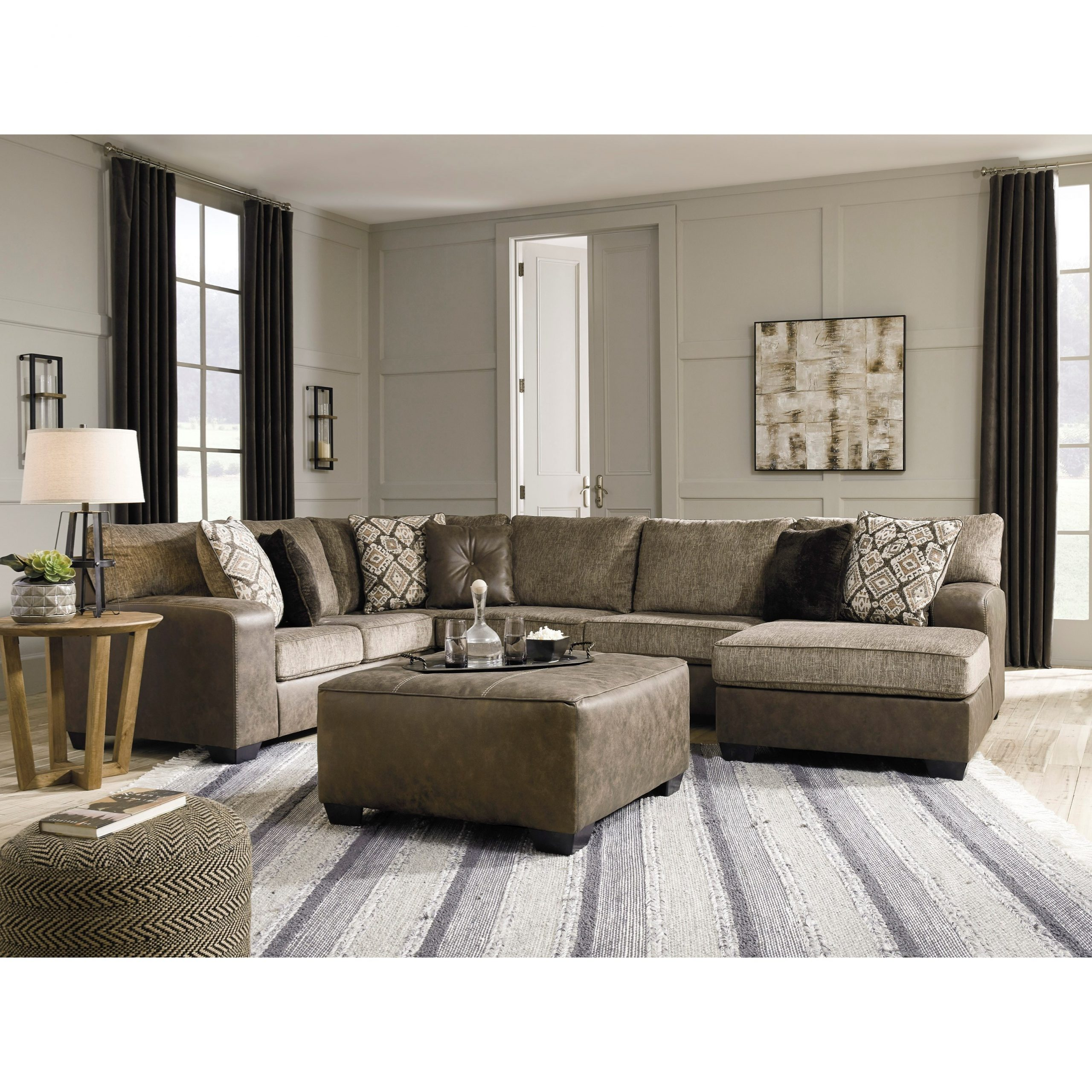 Ashley Furniture Benchcraft Abalone Brown Faux Leather With Latest 3pc Faux Leather Sectional Sofas Brown (View 18 of 20)