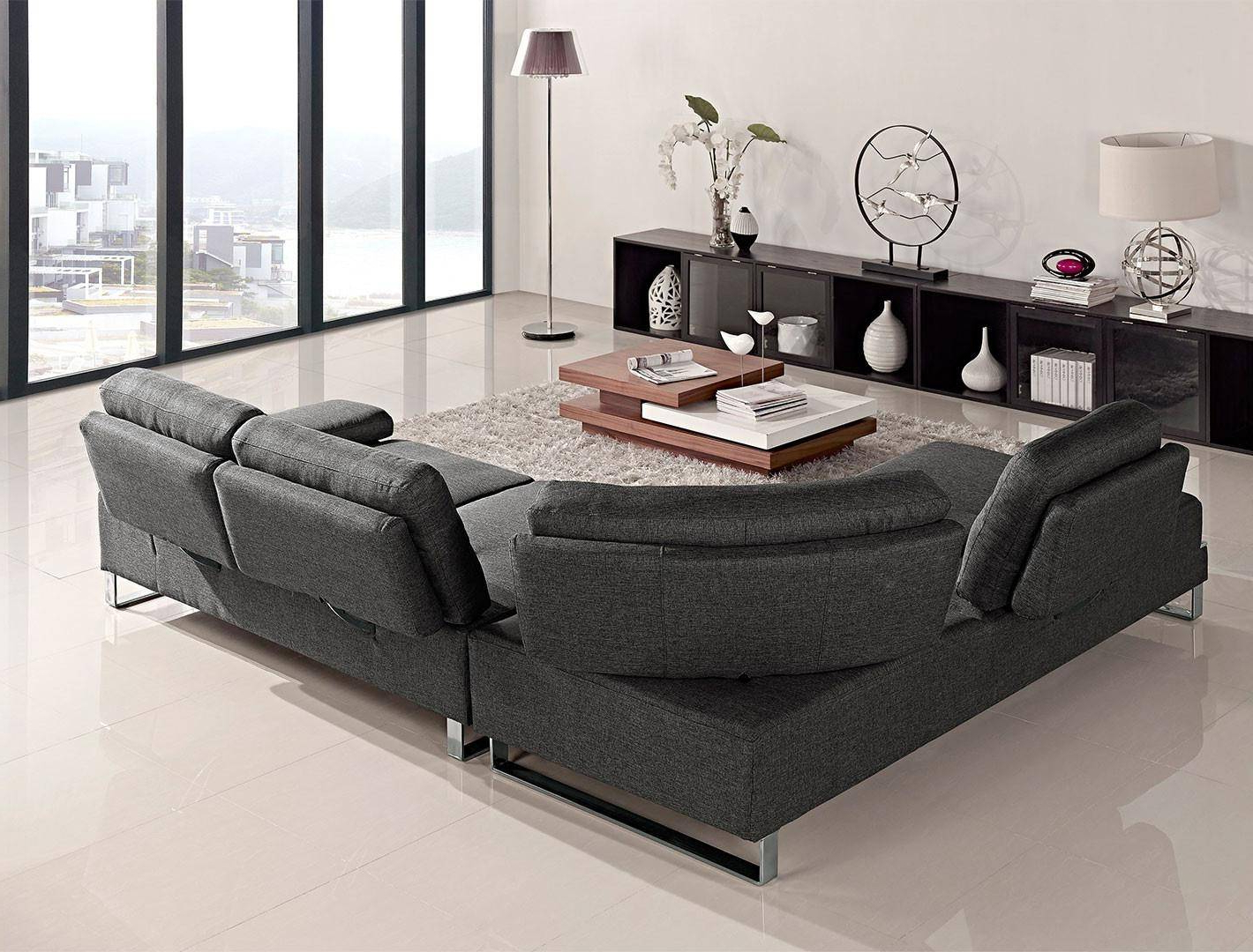 At Home Usa Verona Grey Fabric Ultra Modern Sectional Sofa Regarding Most Popular Sectional Sofas In Gray (View 14 of 20)