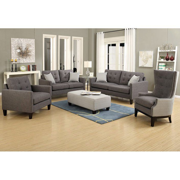 Authentic 1950s Lines Make This Draper Collection A With Regard To Famous 3pc Polyfiber Sectional Sofas With Nail Head Trim Blue/gray (View 12 of 20)