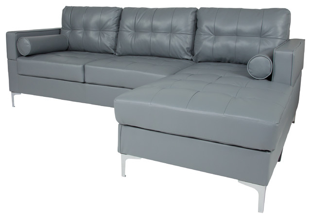Back Sectional With Left Side Facing Chaise And Bolster Regarding Well Known Element Right Side Chaise Sectional Sofas In Dark Gray Linen And Walnut Legs (View 13 of 20)