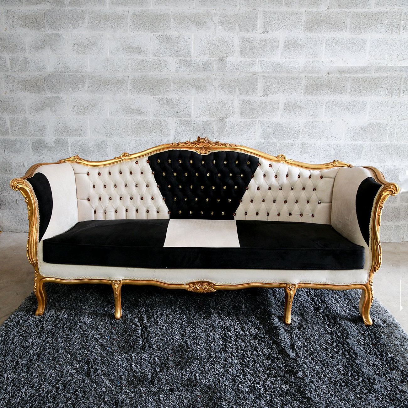 Baroque Tufted Settee Furniture Italian Antique Sofa Within Popular 4pc French Seamed Sectional Sofas Velvet Black (View 9 of 20)
