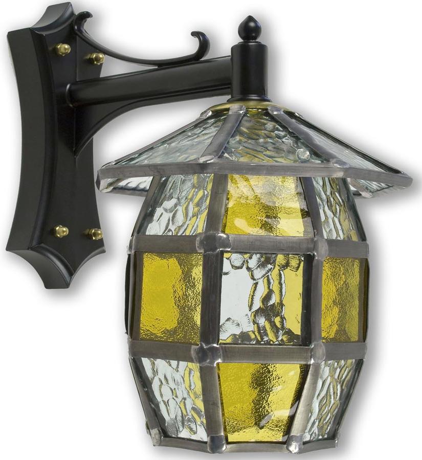 Barrel Handmade Honey Amber Leaded Glass Outdoor Wall Lantern With Favorite Gillian Beveled Glass Outdoor Wall Lanterns (View 12 of 20)