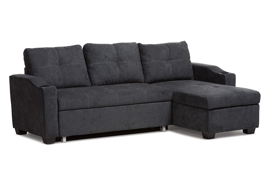 Baxton Studio Lianna Modern And Contemporary Dark Grey With 2019 Gneiss Modern Linen Sectional Sofas Slate Gray (View 7 of 20)