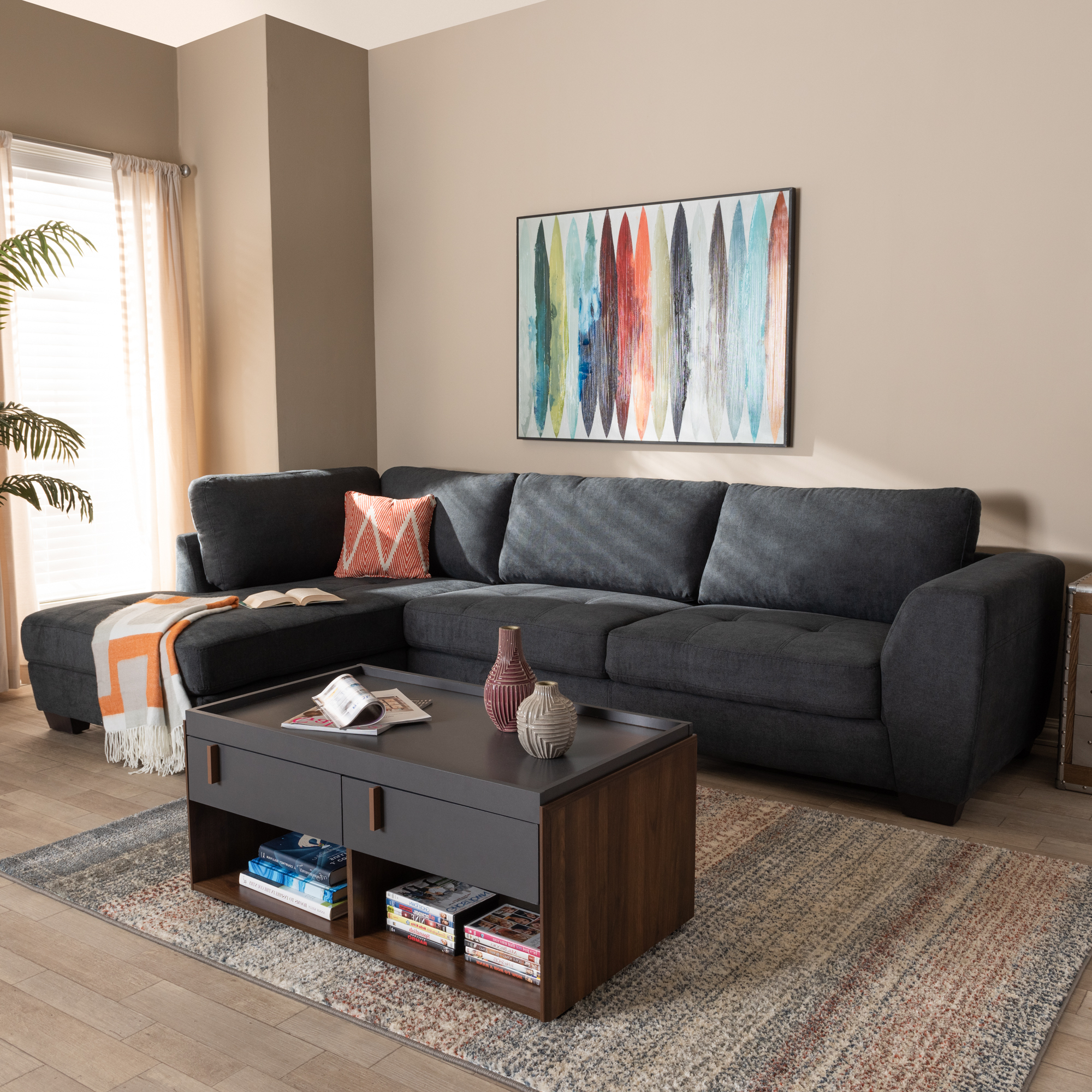 Baxton Studio Petra Modern And Contemporary Charcoal In Well Known Monet Right Facing Sectional Sofas (View 4 of 20)
