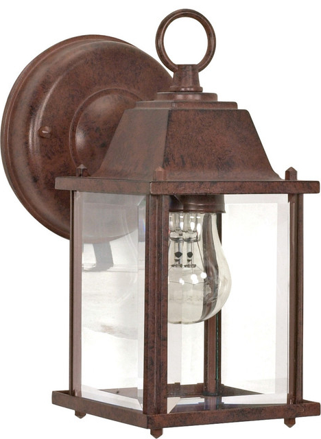 """Bayou Beveled Glass Outdoor Wall Lanterns For Well Known 1 Light – 9"""" Wall Lantern – Cube Lantern With Clear (View 17 of 20)"""
