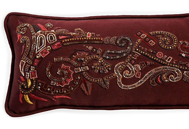 Beaded Pillow, Burgundy Intended For Widely Used 4pc French Seamed Sectional Sofas Oblong Mustard (View 3 of 20)