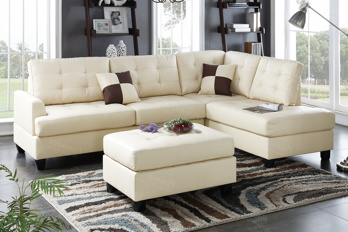 Beige Leather Sectional Sofa And Ottoman – Steal A Sofa For Famous Beige Sofas (View 6 of 20)