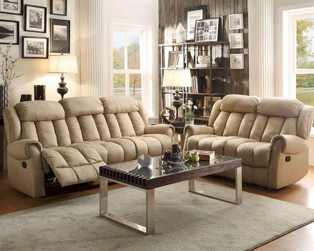 Beige Sofas In Popular Reclining Sofa Set Mankato In Beigehomelegance El (View 9 of 20)