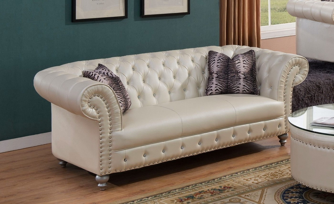 Beige Sofas Throughout Newest Josephine Glam Crystal Tufted Chesterfield Sofa In Beige (View 7 of 20)