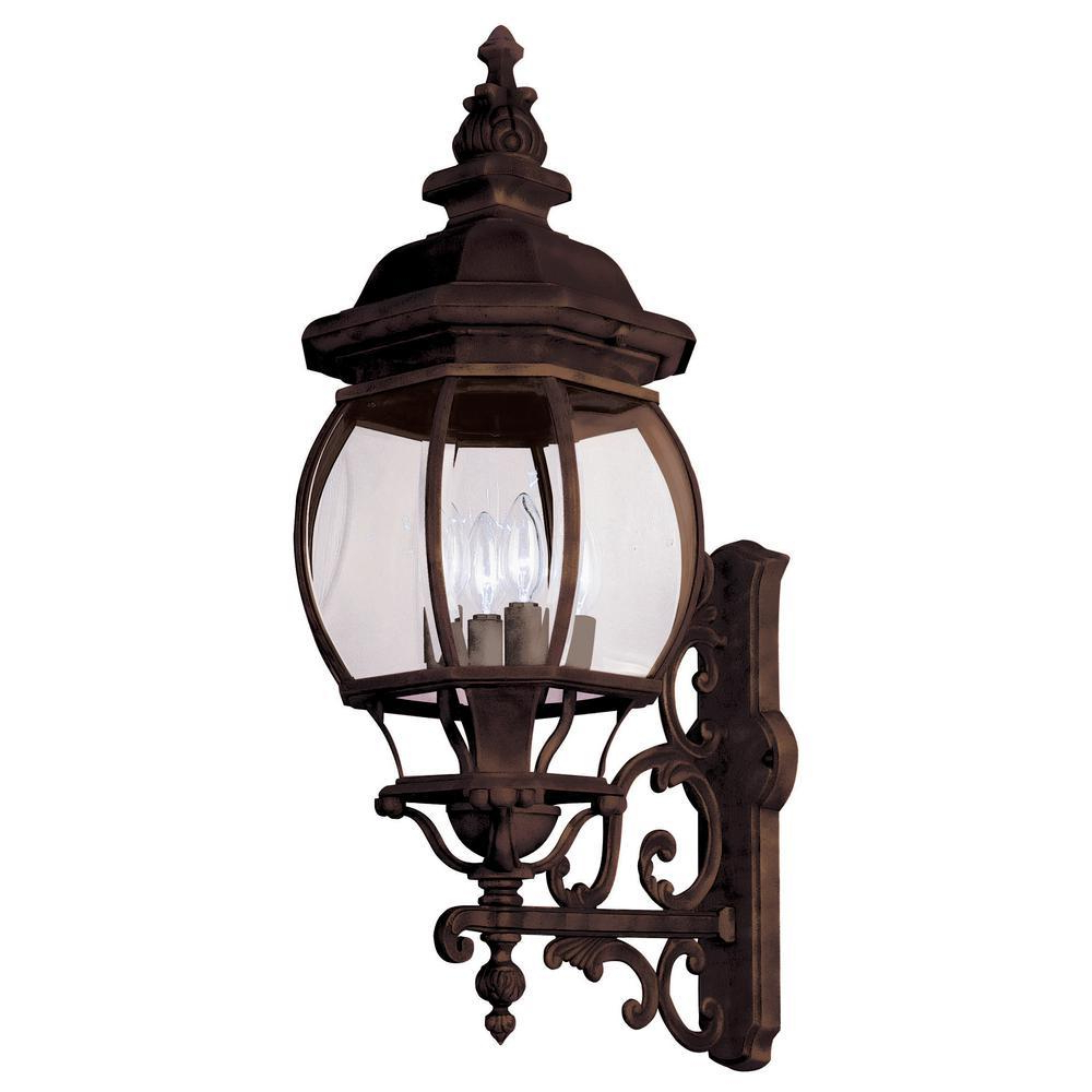Bel Air Lighting Francisco 4 Light Rust Outdoor Coach Wall Within Most Popular Bayou Beveled Glass Outdoor Wall Lanterns (View 20 of 20)