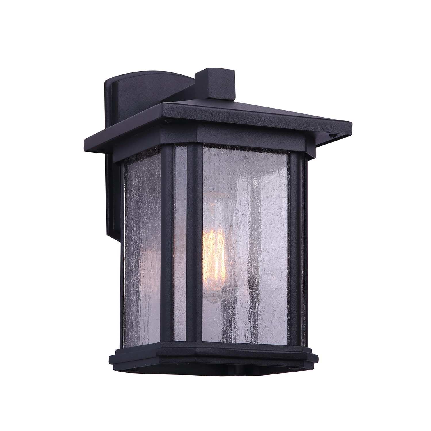 Bennington Clio 1 Bulb Black Outdoor Light Wall Lantern With Most Popular Emaje Black Seeded Glass Outdoor Wall Lanterns (View 2 of 20)