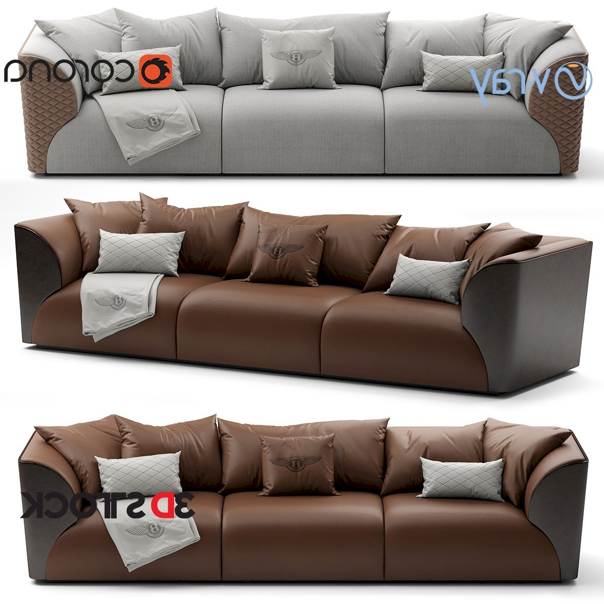 Bentley Home Winston Sofa – 3d Stock : 3d Models For Throughout Widely Used Winston Sofa Sectional Sofas (View 15 of 20)