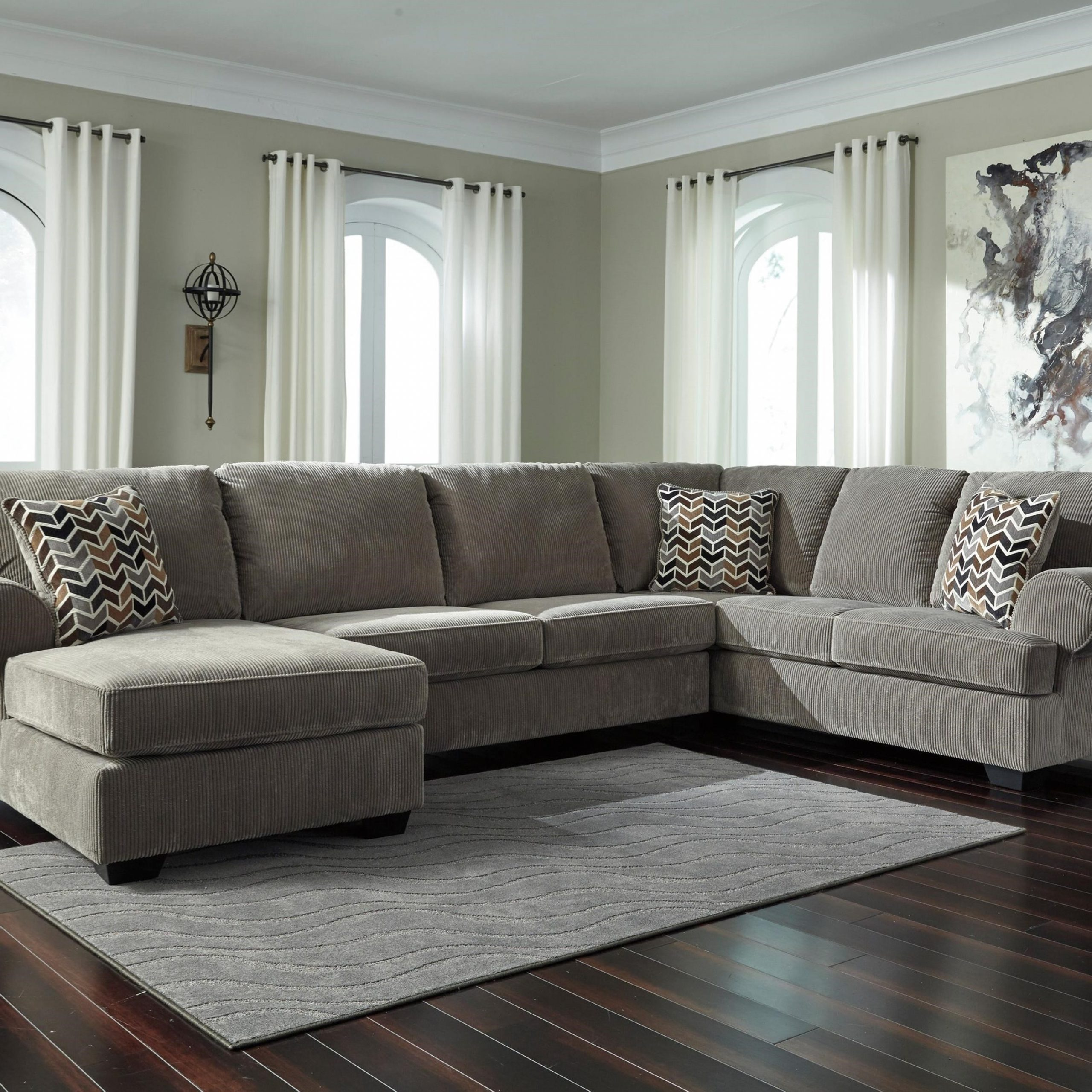 Best And Newest 3pc Miles Leather Sectional Sofas With Chaise Within Ashley Signature Design Jinllingsly Contemporary 3 Piece (View 16 of 20)