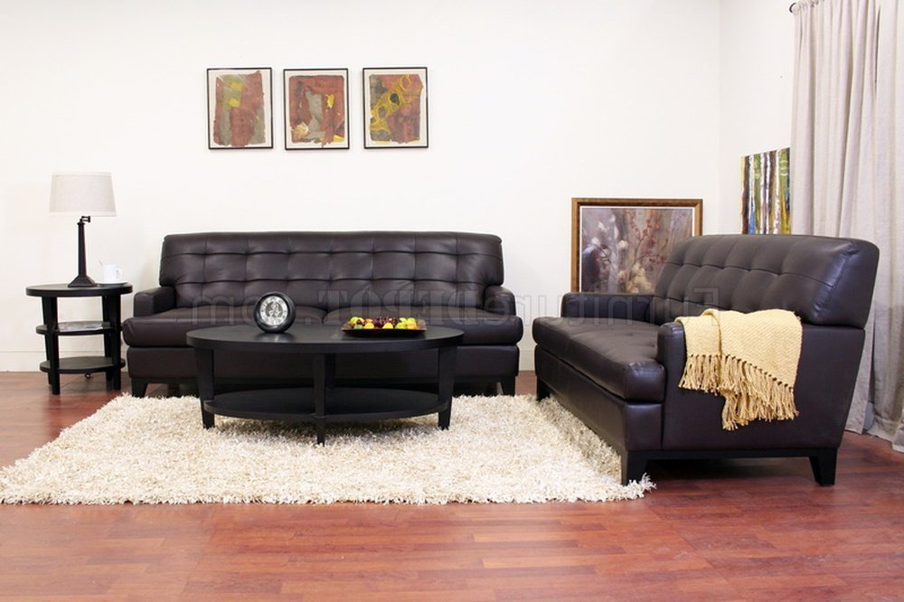 Best And Newest Adair Sofa Set In Brown Bonded Leatherwholesale Interiors Intended For Bonded Leather All In One Sectional Sofas With Ottoman And 2 Pillows Brown (View 4 of 20)