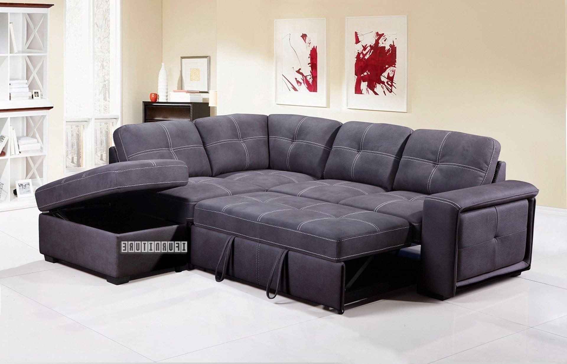 Best And Newest Celine Sectional Futon Sofas With Storage Reclining Couch Within Bellini Sectional Sofa Bed With Storage *grey (View 6 of 20)