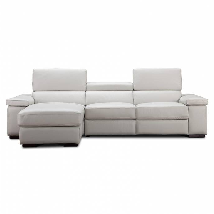 Best And Newest Kiefer Right Facing Sectional Sofas Intended For J&m Fabia Modern Premium Light Grey Italian Leather (View 15 of 20)