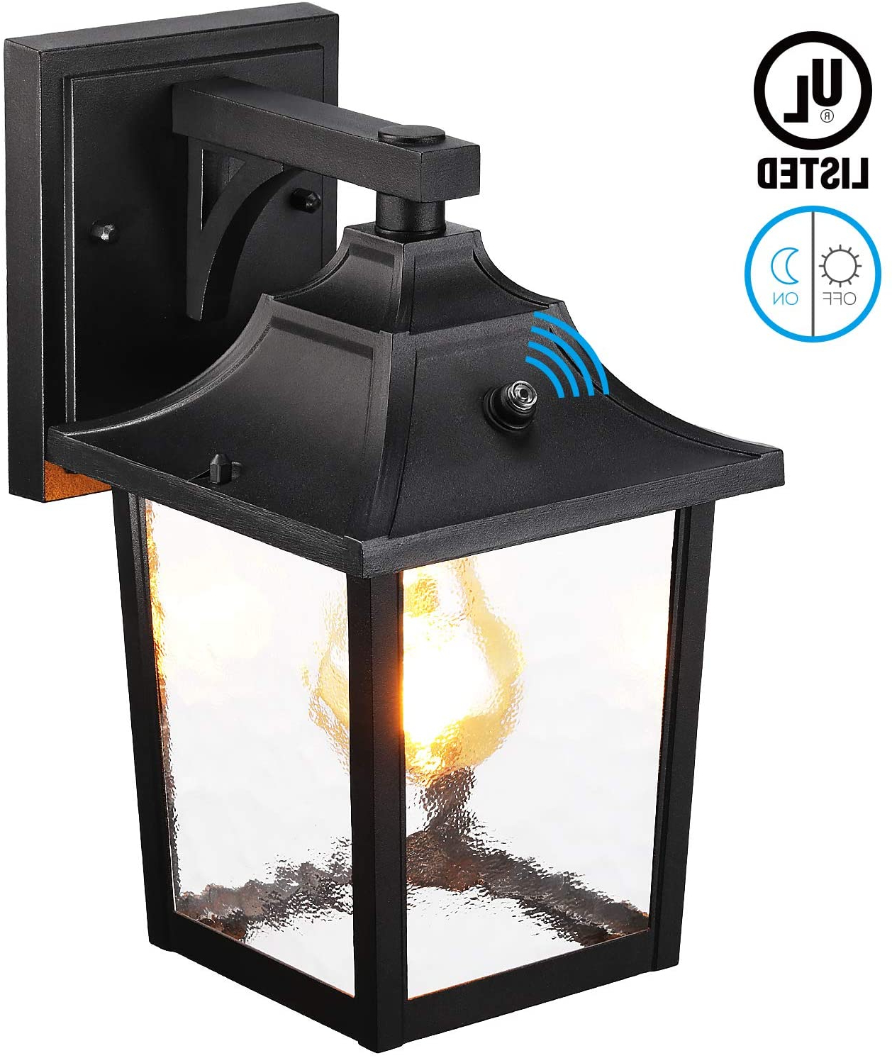 Best And Newest Manteno Black Outdoor Wall Lanterns With Dusk To Dawn Throughout Leonlite Dusk To Dawn Outdoor Wall Lantern, Wet Location (View 12 of 20)