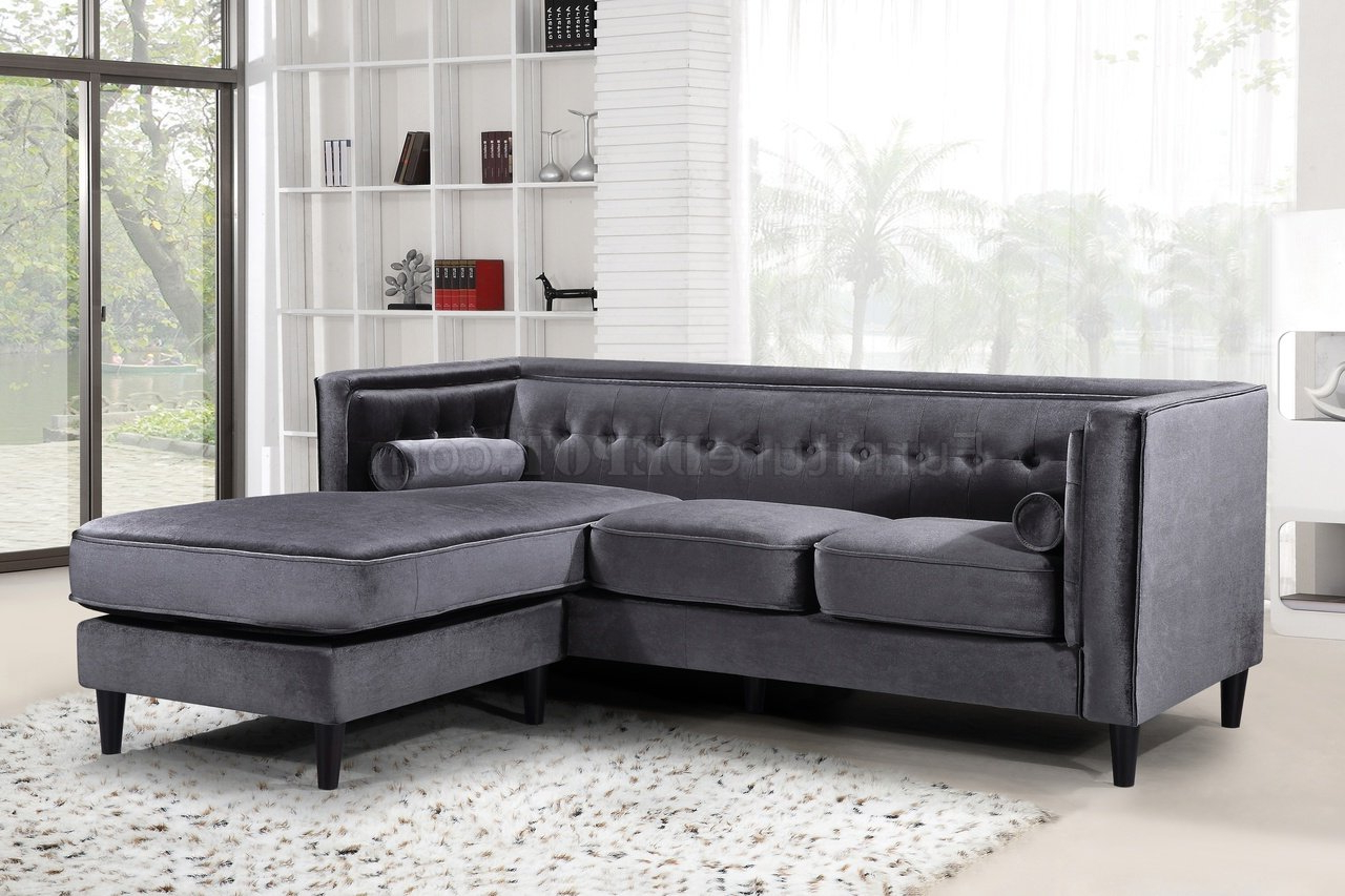 Best And Newest Molnar Upholstered Sectional Sofas Blue/gray Throughout Taylor Sectional Sofa 643 In Grey Velvet Fabricmeridian (View 18 of 20)