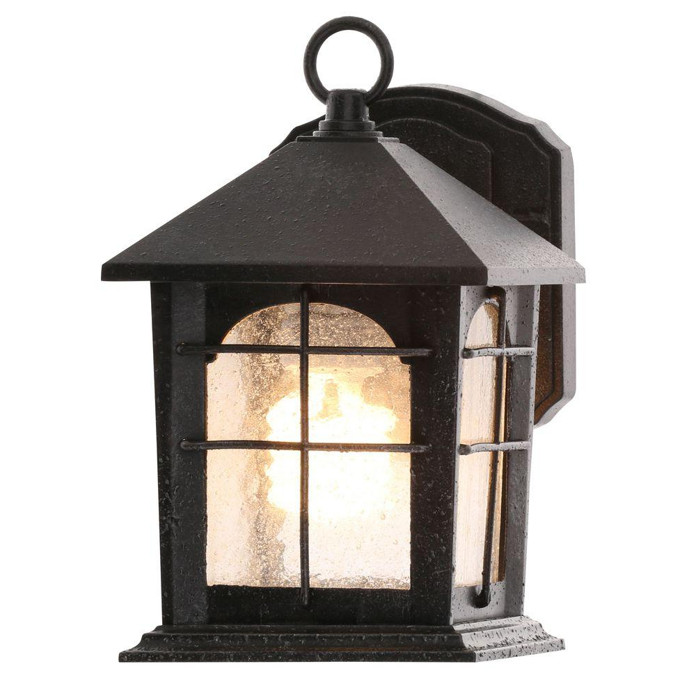Best And Newest Payeur Hammered Glass Outdoor Wall Lanterns Throughout Home Decorators Collection Brimfield 1 Light Aged Iron (View 3 of 20)