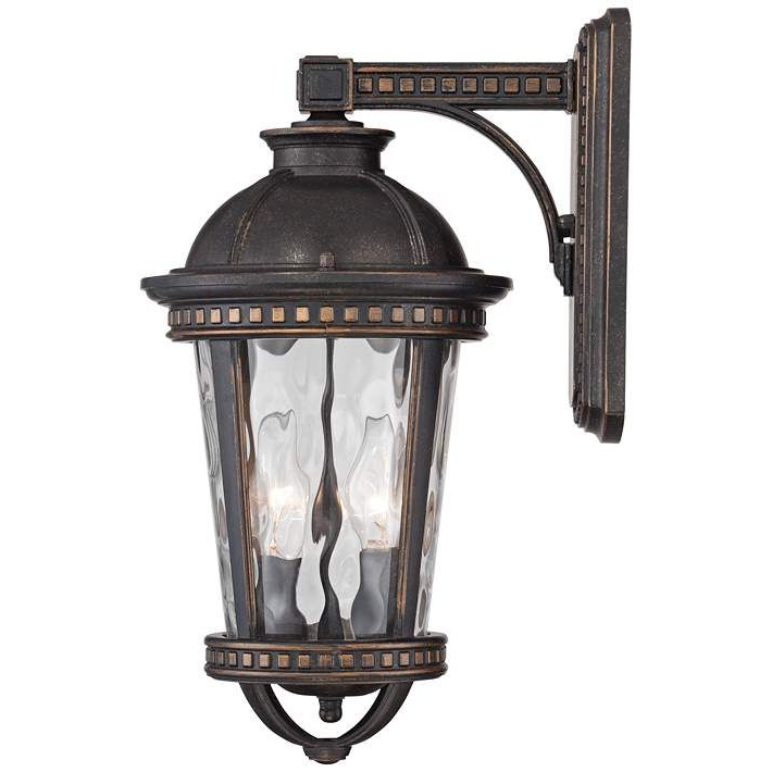 """Best And Newest Provence 15"""" High Bronze Downlight Outdoor Wall Light Throughout Edenfield Water Glass Outdoor Wall Lanterns With Dusk To Dawn (View 2 of 20)"""