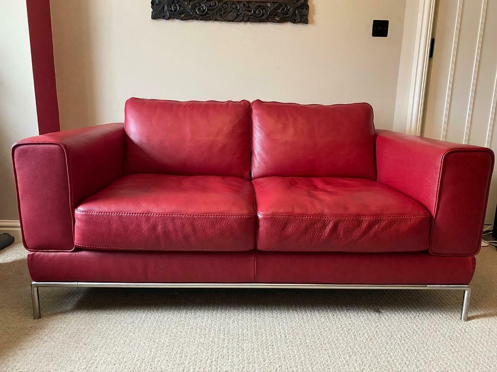 Best And Newest Red Sofas With Regard To Red Leather Ikea Arild 2 Seater Sofa (View 20 of 20)