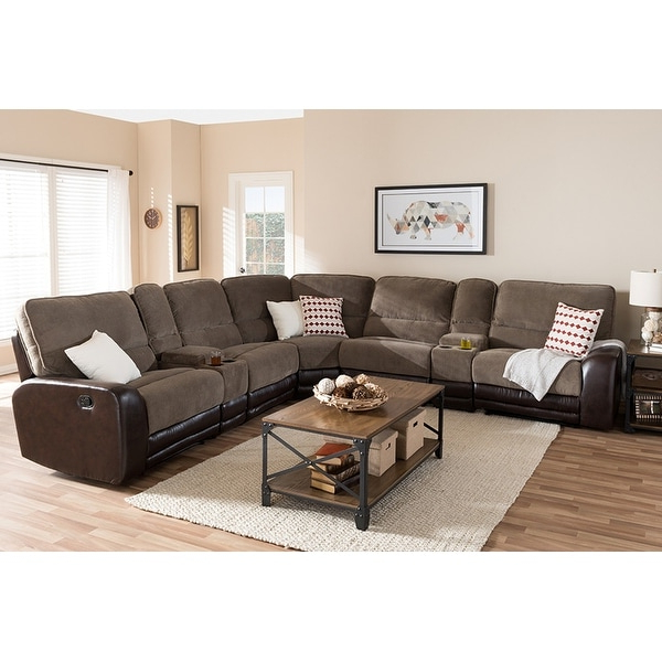 Best And Newest Shop Richmond 7pcs Taupe Fabric/brown Faux Leather Two Throughout 3pc Faux Leather Sectional Sofas Brown (View 16 of 20)