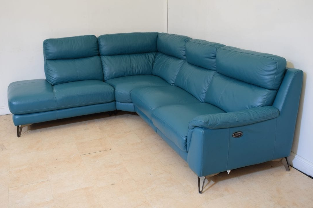 Best And Newest Teal Leather 3 Piece Corner Sofa Electric Recliner With Contempo Power Reclining Sofas (View 17 of 20)