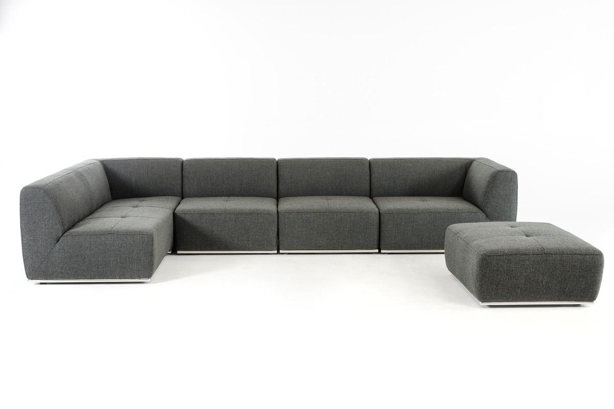 Best And Newest Ultra Modern Modular Grey Fabric Sectional Sofa Set 5 For Hannah Right Sectional Sofas (View 15 of 20)